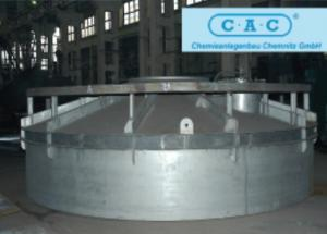The top part of an intermediate Absorber of K2220, internal diameter is 6320 mm, shop on production of the 1820 tons per day sulfuric acid