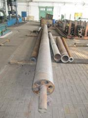 The mandrel for production of the plastic pipes