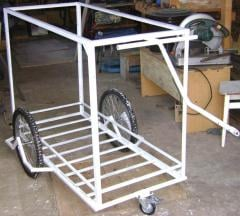 Bicycle trailer the cargo cart in the form of a