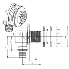 Угольник настенный RAUTITAN MX для ДСП, короткий