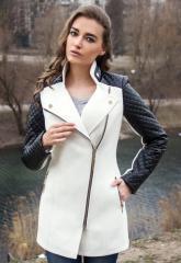 Пальто кашемировое с кожаными рукавами Адель белое