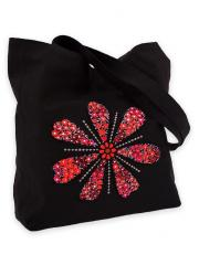 Bag from synthetic black fabric with a modern