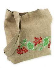 Linen natural bag with a colourful embroidery of a