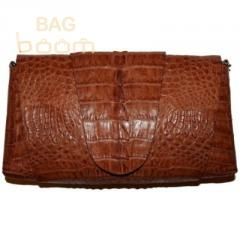 Bag clutch from leather of crocodile 1307Brown