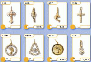 Подвесы, подвески, кулоны, талисманы, золото желтое 585 пробы со вставками из драгоценных и полудрагоценных камней- жемчуг, янтарь, изумруды, топазы, фианиты