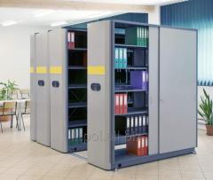 Мобильные стеллажи с электроприводом архивные