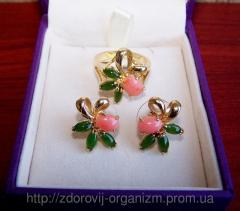 Earrings from the Pink Coral and Nephrite Charm