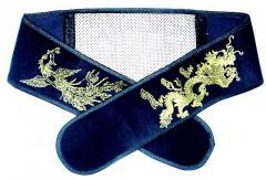 Tourist's crimson belt (big size) Gold Dragon