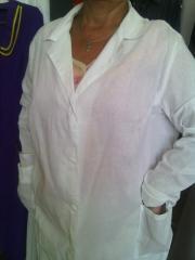 Dressing gown white female coarse calic