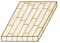 Preparations panel board glued of wood, pine