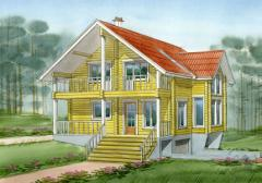 The wooden house with the cellar and penthouse for