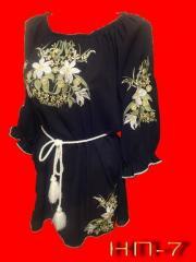 Вишиванка жіноча НП-7 Блузка чорна з ліліями.