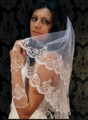 The handwork veil embroidered with beads