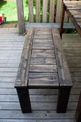 The bench is wooden garden