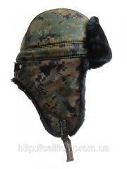 Cap with ear-flaps camouflage for the winter