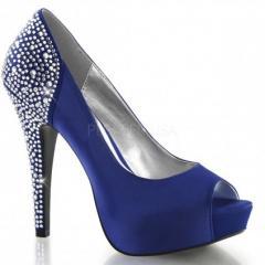 Атласные туфли со стразами на пятке и каблуке