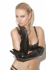 Длинные перчатки из винила E-V9245