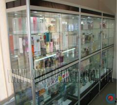Shop windows, shelves, counters