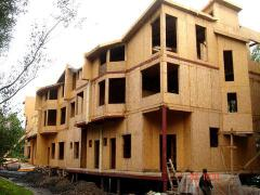 Townhouse. Frame and panel housing construction