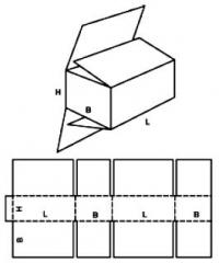 Four-valve folding box for loose products
