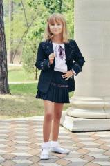 The skirt is school black