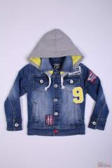 Jacket jeans for the boy with a knitted hood the