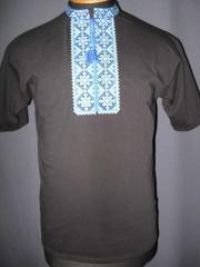 The t-shirt is man's, vyshivanka