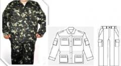 Suit of field VSU camouflage, smooth surface