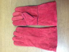 Перчатки спилковые с крагами с подкладкой