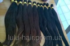 Натуральные волосы в срезе каштан/черные сингл