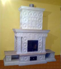 Furnace fireplace tiled (tile). Tiles ceramic for