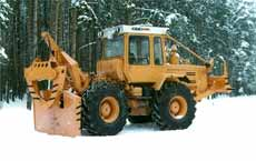 Timber industry wheeled tractor of the increased