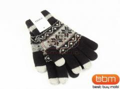 Перчатки для сенсорных экранов (черный) орнамент