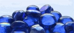 Blue decorative stones glass