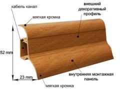 Плинтус напольный с кабельным каналом и резиновыми