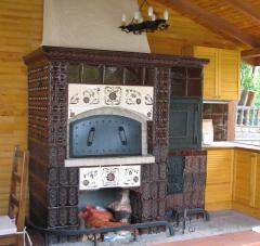 Brazier, barbecue (facing - old tiles and new