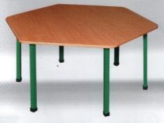 Стол шестиугольный на металлической основе