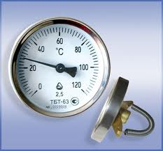 The thermometer is bimetallic. The thermometer