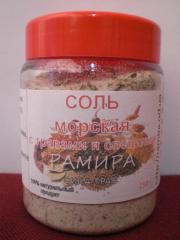 Salt sea with herbs and spices, food. 250 grams.