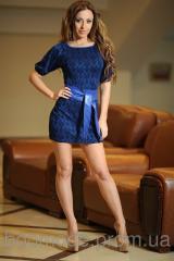 Платье из жаккарда с поясом синее