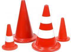 Cone road alarm of plastic 35 cm and 60 cm high