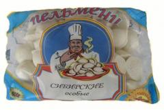 Packaging of semi-finished products meat, pelmeni,
