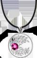 Серебряная монета с кристаллом Гранат