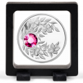 Серебряная монета с кристаллом Турмалин