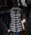 Жилет из чернобурки с кожаным рукавом 90 см