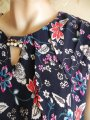 Blouse N4045, blue with a vegetable pattern