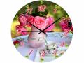 Часы настенные стекло, роза d28 см