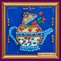 Набор для вышивания бисером  Чайник на синем AMМ-011