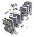Standard component parts for compression molds and stamps of production of the HASCO company
