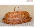 Хлебница плетеная из цельной лозы с крышкой Код: Арт 046-2